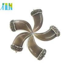 Atacado pedra preciosa jóias Cristal Pave Flat Ox Horn Pingentes de Ágata
