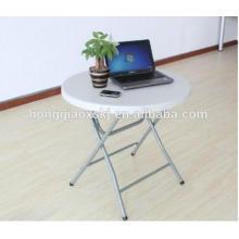 Mesa redonda plástica de pequeno porte, Mesa portátil dobrável para mesa de computador, Mesa de jantar branca barata, Mesa de desdobramento de balcão