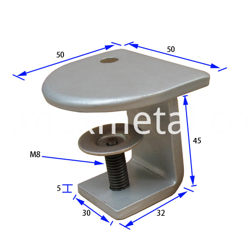STC0005 Half Round Top Glazing Office Desk Clamp Size