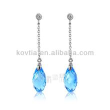925 silver chain earrings austrian crystal aquamarine earrings
