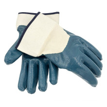 Blue Nitrile Coated Cotton Jersey Liner Easily Wear Safety Cuff Work Gloves