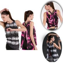 Dernière conception personnalisée polyester spandex fitness débardeur pour femmes