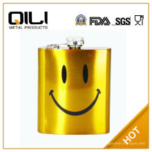 Por la FDA 8oz oro pintar olla de vino barato con cara sonriente