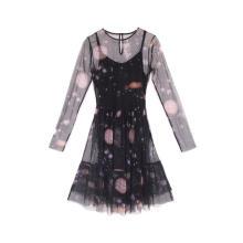 Vestido túnica de malla con cuello redondo para mujer