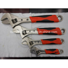 Forged Nickle-Plated Finish Adjustable Spanner with Rubber Grip