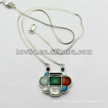 Lady luxo jóias com diamantes 925 prata esterlina cadeia colar feito na China