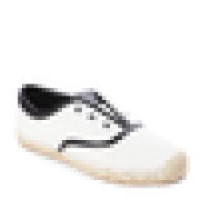 Off white & Black Espadrille flats lona sola superior de borracha sapatos de juta