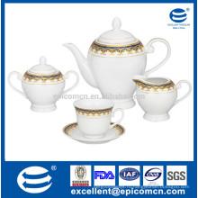 Набор арабского фарфорового чая с золотой декалью, наборы чая 17pcs / 15pcs с упаковкой подарка / коробки цвета