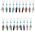 Feather Hexagonal Prism Pendant  Necklace