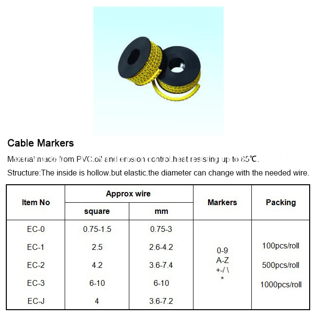 Cable Marker Numbering 0 - 9 500Pcs Per Pack