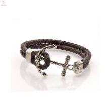 China Manufacturer Wholesale Anchor Leather Bracelet