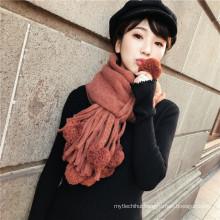 Newest design women autumn winter fur pashmina wool knit scarf shawl with pom pom