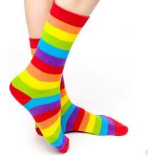 Custom Good Quality Rainbow Design Cotton Women Socks Happy Socks