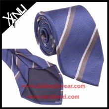 Laço de seda da dobra do jacquard 7 dos homens listrados de Brown azul
