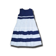 girls cotton material blue stripe dress