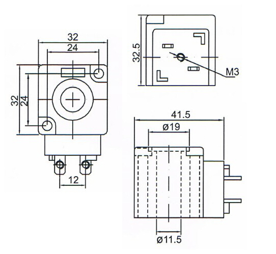 overall dimension of kq solenoid valve coil