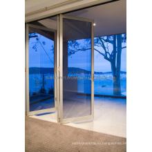 Растворимые рамы Синие тонированные двойные стеклянные алюминиевые двери