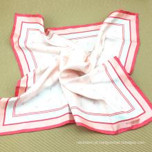 O lenço de seda das mulheres impressas costume do sargento de seda puro do fornecedor chinês dos acessórios com harmonização do laço de seda