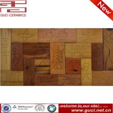 Telha de mosaico rústica da madeira contínua do projeto para a decoração da parede da casa