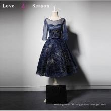 LSQ008 3/4 sleeve blue sexy women dress elegant latest design formal evening gown