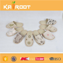 natural linen wholesale chinese custom made embroidered slippers