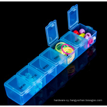 OEM Transparent Plastic Weekly Compartment Storage Box for Promotion