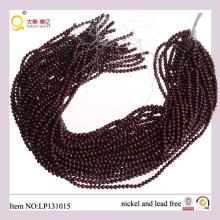 4-5mm Forme de pomme de terre rouge foncé Chaîne de perles Culturel Perdu la fil de perles d'eau douce