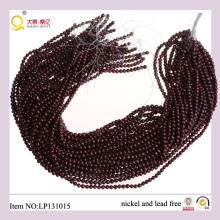 4-5mm Papa rojo oscuro forma cadena de perlas cultivada pierden hilo perla agua dulce