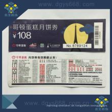 Sicherheit Anti-Counterfeiting Tickets Sicherheit Coupon Customized Design