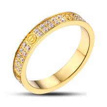 Bague en pierre ornée d'anneau en or en acier inoxydable