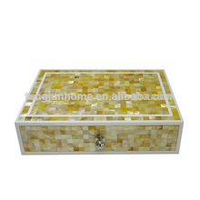 GM-ABX Hotel Amenity Zigzag Golden Mother of Pearl Accessory Box
