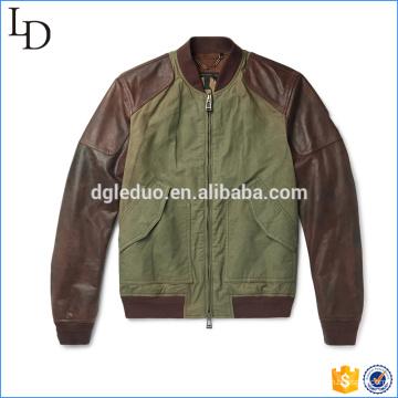 Washed-Cotton Canvas chaqueta de caza universitario con chaqueta de cuero