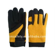 Durable spandex leather mechaics gloves for skid-proof