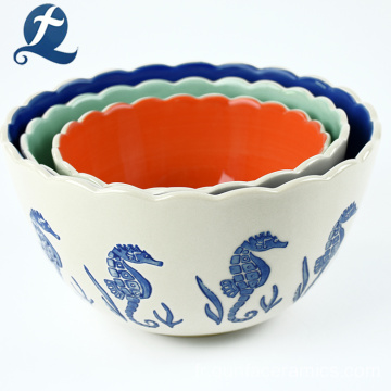 China Factory Directly Sale Creative Printed Ceramic Bowl Snack Bowl