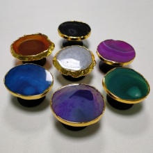 Druzy Agate Phone Socket With Gold Rim