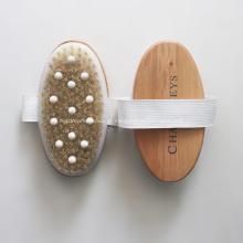 Escova de bambu de cerdas de javali para massagem de chuveiro