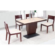 Table de Restaurant Moderne Coffee Shop avec Base en Métal et Chaise en Bois Massif Beige Rembourré (FOH-BCA04)