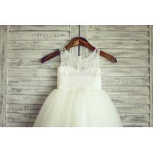 Элегантный Белый кружево аппликации зубчатый молния назад органзы подгонять платье девушки цветка FGZ08 3 летняя девочка платье