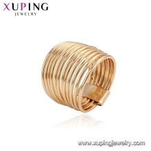 15540 Joyería al por mayor única de las mujeres precio barato 18k chapado en oro aleación de cobre anillo de dedo de la aleación