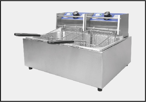 Stainless steel electric fryer in the restaurant
