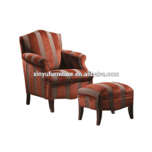hotel room chaise, Strip fabric longue chaise with stool XYD226