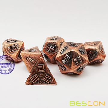 Bescon Copper-Ore Lode Solid Metal Dice Set, Raw Metal Polyhedral D&D RPG 7-Dice Set
