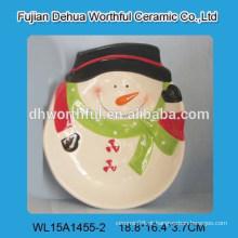Natal, decoração, cerâmico, prato, boneco neve, FORMA