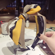 2021 Korean New Custom Cute Silk Hairbands Trendy Yellow Big Butterfly Hair Accessories Knit Knot Headband
