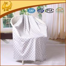 Saco de caxemira de qualidade superior Super macio Jacquard escovado manta de seda com borda dobrada