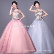 Puffy princesa vestido de baile colorido vestido de noiva de chiffon brilhante Vestido de bola cinza rosa Evening Party