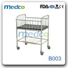 Aço inoxidável Cama hospitalar móvel B003
