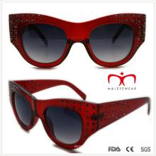 Plastik Damen Special Shaped Sonnenbrille mit Strass (WSP508363)