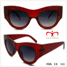 Plastic Ladies Special Shaped Sunglasses with Rhinestone (WSP508363)