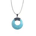 Pendentif en forme de pierre turquoise nouvelle arrivée ronde pour les femmes